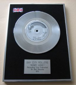 BAY CITY ROLLERS - MONEY HONEY Platinum Single presentation Disc